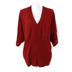 Lane Bryant Womens Plus 22/24 Red Dolman Sleeve